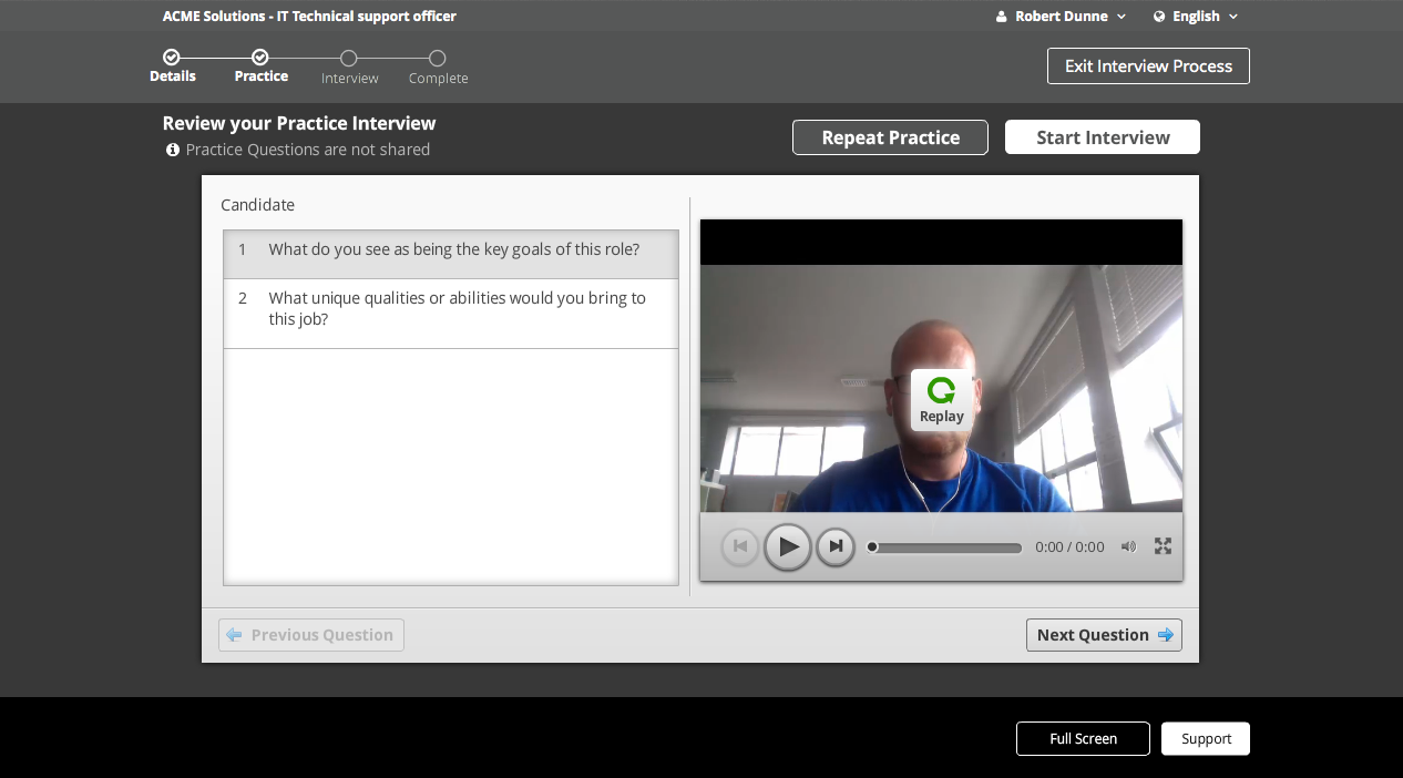 sonru select asynchronous interview process via laptop pc when you have finished answering the practice questions you can then decide to either re record practice questions or start your interview